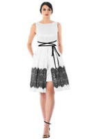 Eshakti White Dress Sz 12 Black Printed Lace Trim Fit & Flare Pleated Dupioni