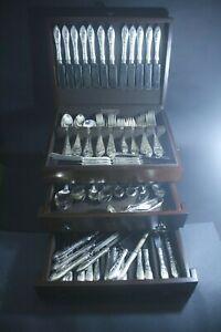 Birks Sterling Silver Tudor Scroll Flatware Dinner Set for 12 157 pc 160 oz