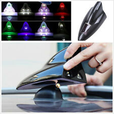 Vehicles Roof Solar Antenna Remote Control Signal Radio RGB LED Shark Fin Black