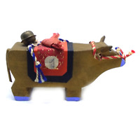 Lucky Cow , Japanese traditional miniature vintage wooden antique figurine toy