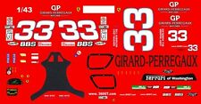 #33 Girard-Perregaux 2003 Ferarri 1/43rd Scale Slot Car Waterslide Decals