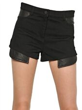 NWT ALEXANDER WANG 30 cotton w/ glove leather shorts runway couture black