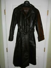 Women's Leather Brown Long Coat Jacket Belted Size L