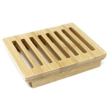 Soap Dish Rack Tray Hemu Wood Bamboo Groovy Soap Holder Plate Bath Kitchen UK