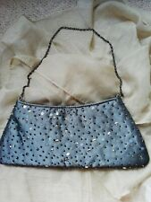 LADIES NEXT Sparkly Sequin Clutch hand Bag With Chain Strap  Grey