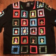 Michael Simon XL Holiday Cardigan Sweater Elves Santa Snowman Christmas Tree