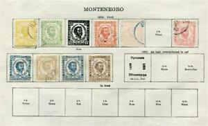 MONTENEGRO: 1874 Examples - Ex-Old Time Collection - Part Album Page (41619)