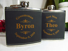6 Personalized Engraved Flasks Groomsman Best Man Gifts Logo Style Black Leather