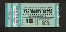 Original 1981 Moody Blues concert ticket stub Baton Rouge Long Distance Voyager