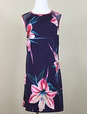 catherine malandrino L dress purple floral sheer sleeveless shift loose fit knee