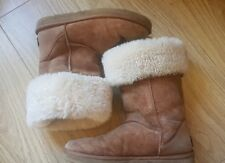 Used Tan Tall Genuine Ugg Sheepskin Boots W7 5 38