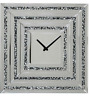 Large Mirrored Glass Silver Crushed Diamond Crystal Wall Clock 50cm x 50cm