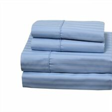 King Size Wrinkle Free Striped 650 Combed Cotton Sheet Sets-Color Blue
