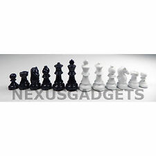 DARK BLUE & WHITE PORCELAIN Chess Pieces 3.5 IN KING Classic Game Set NO BOARD