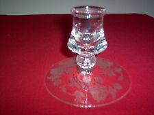 "Vintage Heisey Rose Etch Crystal Single 3 5/8"" Candle Holder - MINT - NICE!"