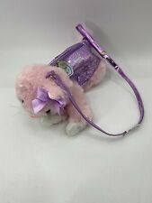 Poochie and Co Pink Fuzzy Cat with Purple Sequin Vest Purse bag plush