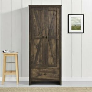 Rustic Brown Pantry Storage Cabinet Shelving Laundry Closet Organizer Utility