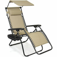 BCP Folding Zero Gravity Recliner Lounge Chair w/ Canopy, Cup Holder