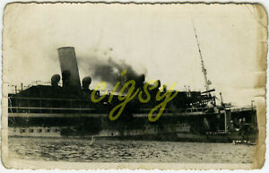 Real photo postcard - Ship on Fire & Sinking - Mediterrainean - 1943.