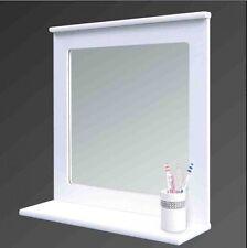 WHITE WOOD BATHROOM MIRROR WITH SHELF WALL MIRROR WITH ORGANISER WALL SHELF