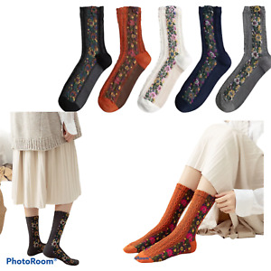 5x pairs women ladies ethnic knitted floral soft cotton embroidered crew socks