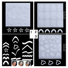 3Sheets Nail Art French Edge Tip Guides Heart Star Designs Manicure Tips