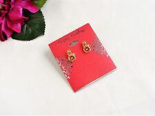 So Sweet! Goldtone Red Green & Clear Rhinestone Pierced Snowman Earrings NEW!
