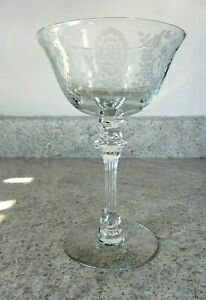"Tiffin ""June Night"" Etched 5 1/2 oz. Crystal Sherbet/Champagne Stem 1940-1950"