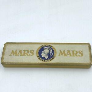 Mars JS Staedtler Pencil Tin Box EMPTY Hinged Lid Metal Vintage made Germany AR2