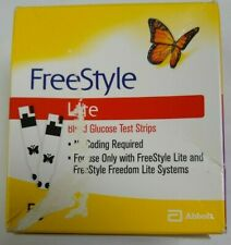 50 FreeStyle Lite Glucose Blood Test Strips Dents/Dings exp 6/2022 Ship Free!