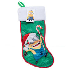 Despicable Me Minion Satin Green w Fur Cuff Bob Holiday Christmas Stocking 18""