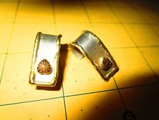 BEAUTIFUL VINTAGE 10K GOLD hearts SOLID STERLING SILVER POST EARRINGS