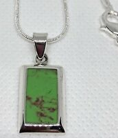 "Sterling Silver 925 Pendant Green 18"" Chain Jade Oblong Hallmark Gift Box NEW"