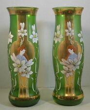Pair Fritz Heckert Art Nouveau Art Glass Vases with Women and Flowers
