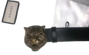 GUCCI GG Tiger Feline Head Buckle Full Grain Calfskin Black Leather Belt 80/32