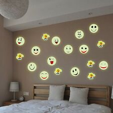New Glow In The Dark Luminous PVC Wall Stickers Emoji Smiley Face Wall Decal