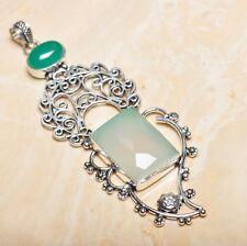 "Handmade Green Natural Chrysoprase 925 Sterling Silver Pendant 4.25"" #P15518"