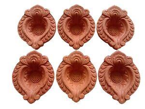 Set of 6 Handmade Indian Traditional/Pooja Clay Terracotta Oil Lamp - Diya Lamp