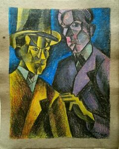 Cubism AVANTGARDE - Portrait -  abstract - drawing/painting - Vintage