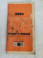 Vintage 1978 Chevrolet Nova Owners Manual Guide