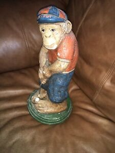 "Vintage Concrete Statue GOLF Monkey 15"" Chimpanzee Chimp Putting"