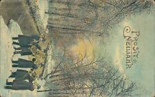 New year greetings posit Neujahr brass band by river snow scene