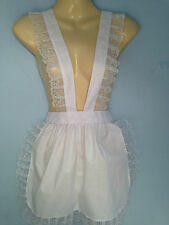 adult piny apron + hat french maid sissy victorian  wide lace rocky horror new