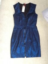New Look Kelly Brook Plunging Tulip Dress. Blue Animal. Size 8. New with Tag.