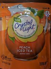 CRYSTAL LIGHT PEACH ICED TEA DRINK MIX~2 QUART PITCHER PACKS~32 QTS SUGAR FREE