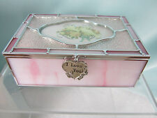 Stained Glass Sentiment Box I Love You Metal Fob Turtledoves  Glass Metal New
