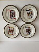 Set of 4 American Atelier Home Casino Dessert Plates Poker Cards Stoneware 5269