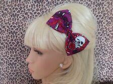 """Handmade 5"""" Violet Flamme Crâne imprimé tissu de coton Nœud Pince à Cheveux Rockabilly Goth"""