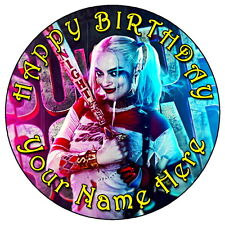 """SUICIDE SQUAD HARLEY QUINN - 7.5"""" PERSONALISED ROUND EDIBLE ICING CAKE TOPPER 2"""