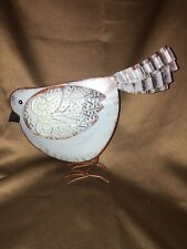 "PRIMITIVE TIN METAL Blue BIRD vintage shabby home garden art decor 12"" SWEET!"